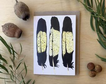 Yellow-Tailed Black Cockatoo Feathers Blank Greeting Card