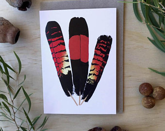 Red-Tailed Feathers Blank Greetings card